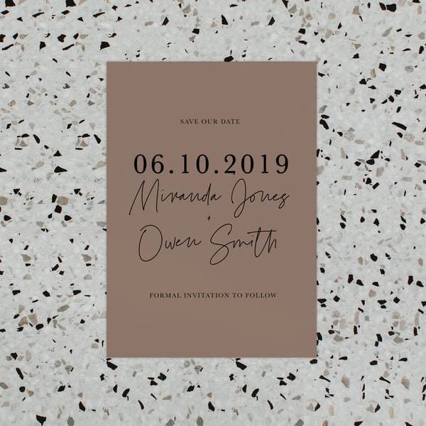 SIMPLICITY SAVE THE DATE BROWN