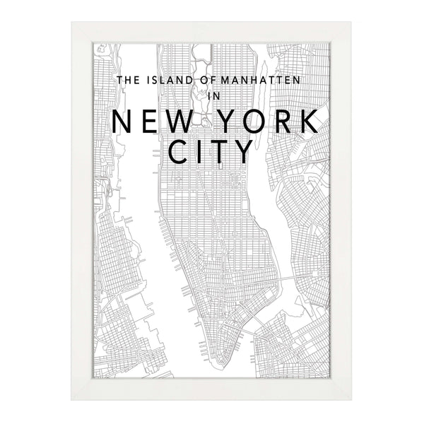 New York Map Black And White.New York Map Black Print Papier Hq
