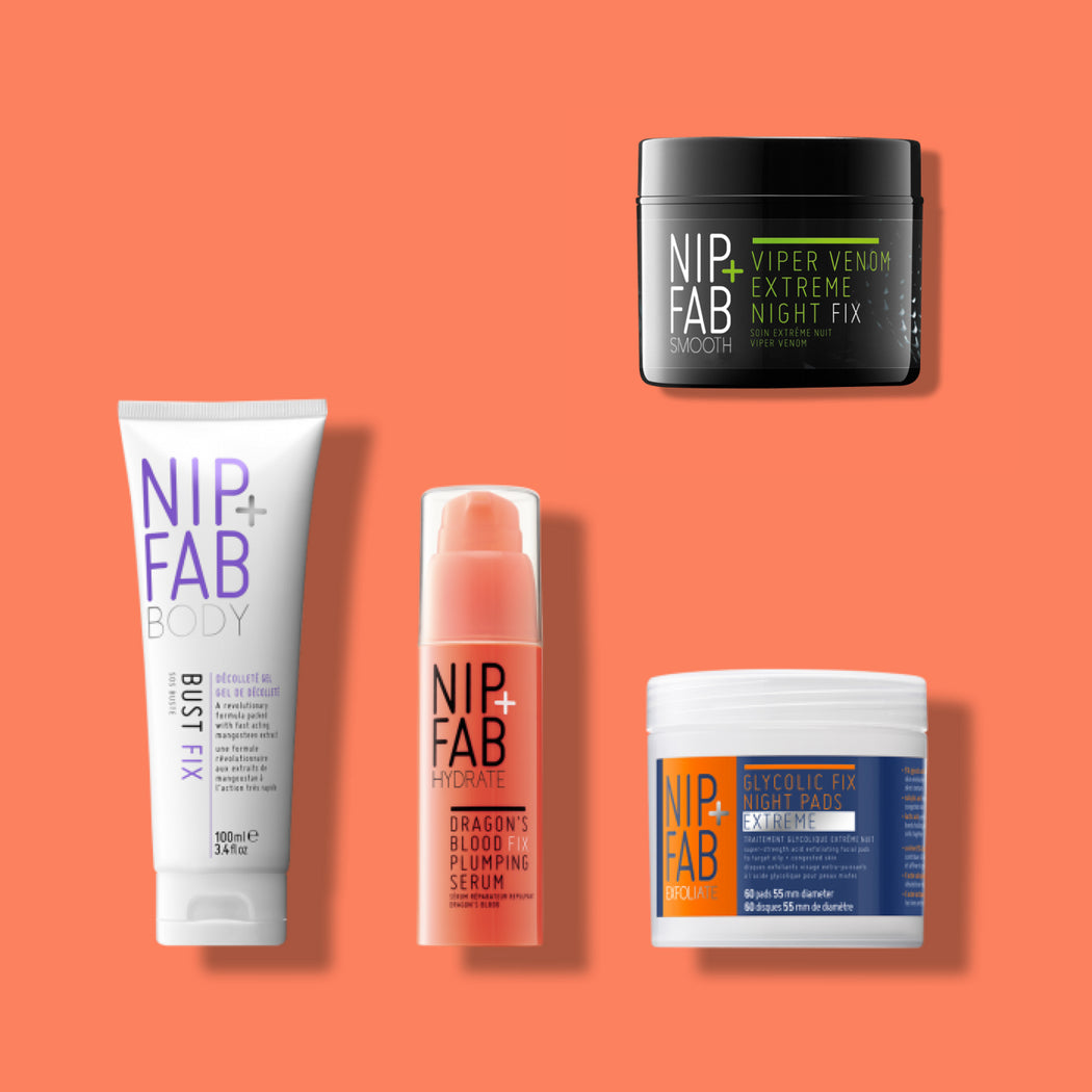 NIP+FAB BEST-SELLING KIT INCLUDING TARGETED BODY TREATMENT, DRAGON'S BLOOD HYDRATING SERUM, EXTREME GLYCOLIC CLEANSING PADS AND VIPER VENOM NIGHTCREAM