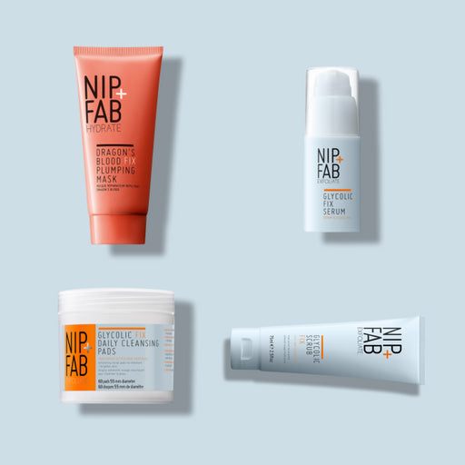 NIP+FAB BREAKOUT KIT INCLUDING DAILY GLYCOLIC CLEANSING PADS, DRAGON'S BLOOD HYDRATING MASK, GLYCOLIC EXFOLIATING SCRUB AND RESURFACING SERUM
