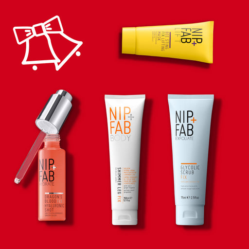 Nip + Fab Australia Christmas limited edition gift set includes Dragon's Blood Fix Shot, Glycolic Scrub Fix, Body Shimmer Leg and Bee Sting Fix Lifting Mask