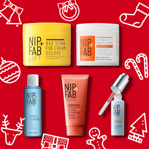 Nip + Fab Australia limited edition Christmas gift set includes Bee Sting Fix Deluxe Cream, Glycolic Fix Gentle Pads, Glycolic Cleansing Fix, Dragon's Blood Mask and Glycolic Fix radiance shot