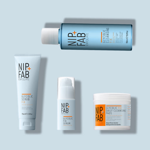 Nip+Fab Glycolic Ultimate kit including Glycolic Scrub 75ml, Glycolic Cleansing Gel 150ml, Targeted Serum 30ml and Glycolic Daily cleansing 60 pads