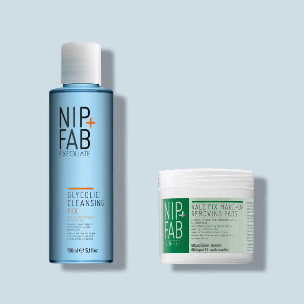 nip+fab double cleansing kit including Glycolic exfoliating scrub 75ml and moisturising Kale 60 cleansing pads