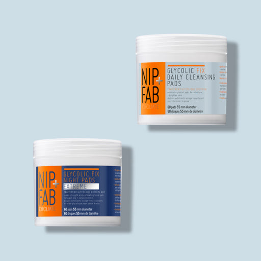 NIP+FAB TWO GLYCOLIC CLEANSING PADS INCLUDING 60 DAILY CLEANSING PADS AND EXTREME NIGHT EXFOLIATING PADS