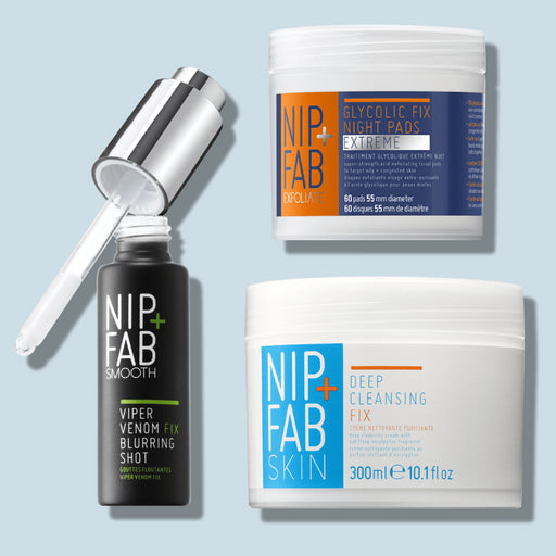 Nip + Fab Australia Pore Free Kit includes Deep Cleansing Fix, Glycolic Fix Extreme Night Cleansing Pads and Viper Venom Fix Blurring Shot