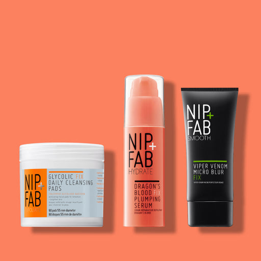 NIP + FAB Australia Selfie Ready Skincare Essentials Kit including Glycolic Fix Daily Cleansing Pads, Dragon's Blood Fix Plumping Serum and Viper Venom Blurring Fix