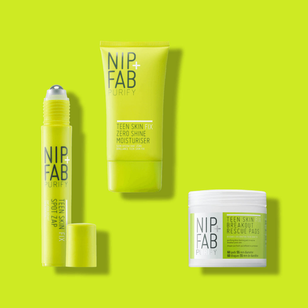 NIP + FAB AU | TEEN SKIN FIX KIT includes Teen Skin Fix cleansing pads, shine-free moisturiser and spot zap to prevent blemishes