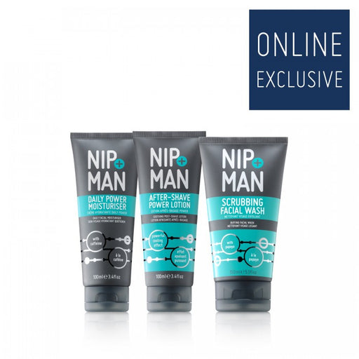NIP+MAN MODERN MAN KIT INCLUDING SCRUBBING FACE WASH, DAILY MOISTURISER AND AFTER-SHARE LOTION