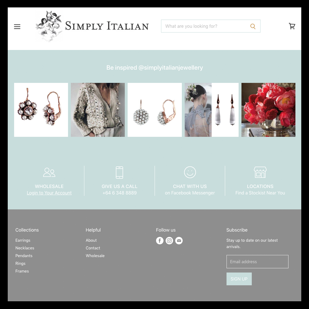 Simply Italian Bottom of Website