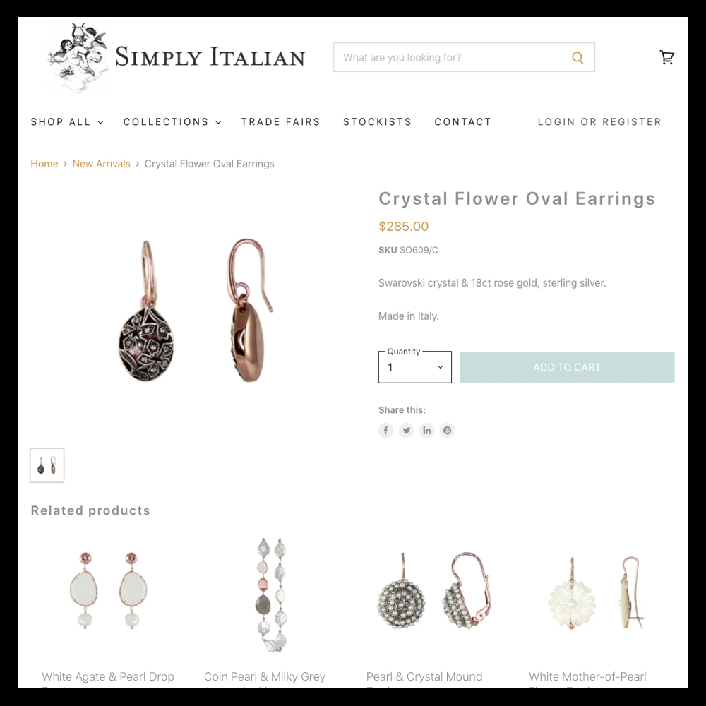 Simply Italian Product Page Example