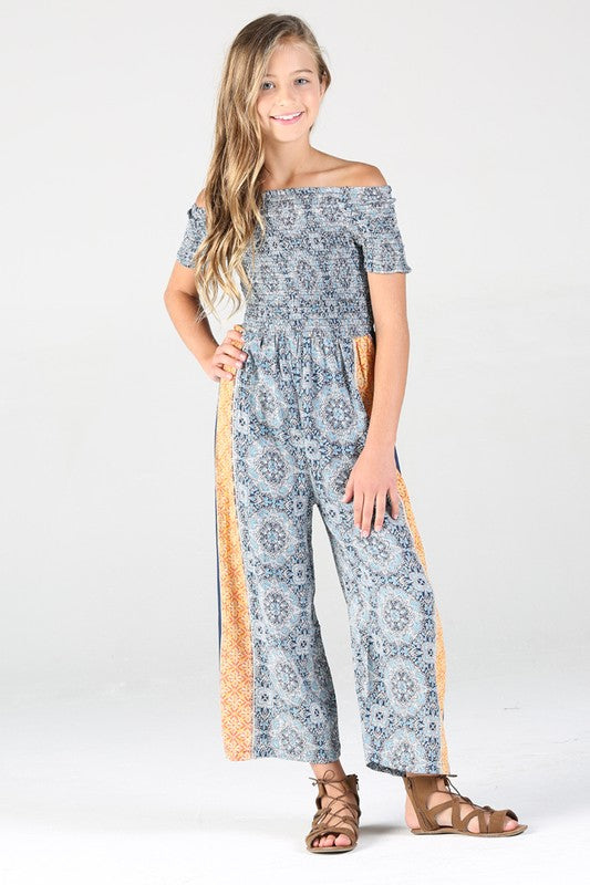Girls Boho Blue Romper