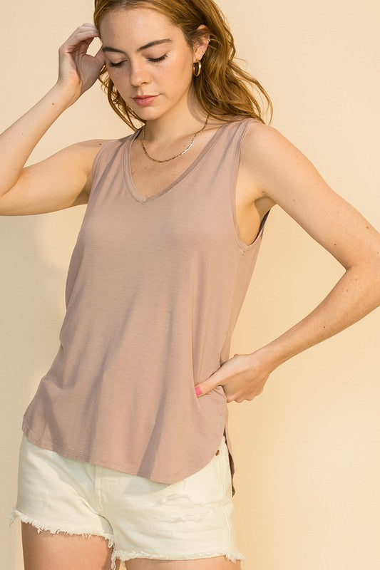 Perfect V Neck Tank in Blush