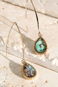 Abalone Tear Drop Glass Earrings