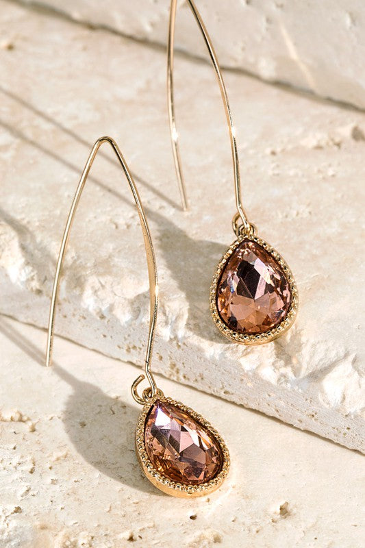 Peach Tear Drop Glass Earrings