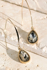 Light Topaz Tear Drop Glass Earrings