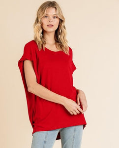 Drapey Dolman Top Red