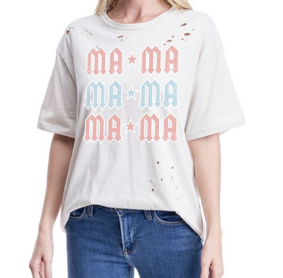 Mama Distressed Graphic Tee