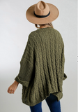 Olive cable knit oversized cardigan