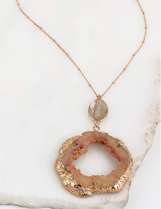 Long druzy stone necklace