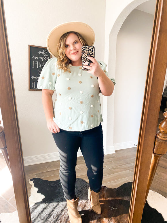 Spring Mint Dotted Top
