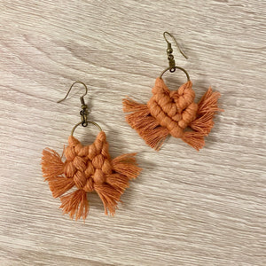 Terra Cotta Macrame Earrings