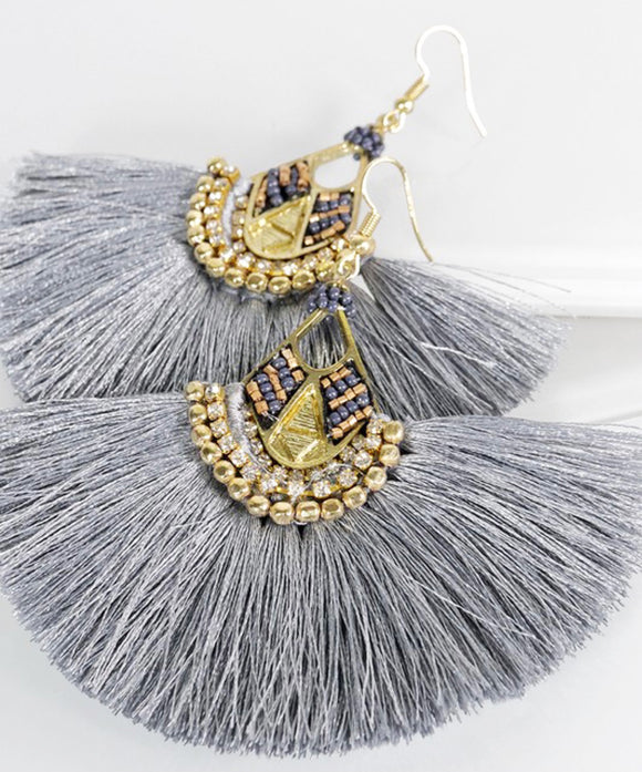 Gray Tassel Earrings