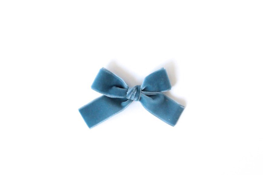 French Blue Velvet Bow
