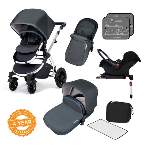 Ickle Bubba Stomp V4 Special Edition Travel System with ISOFIX Base - Blueberry/Chrome - Pushchair Expert