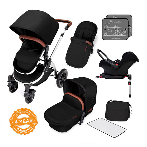 Ickle Bubba Stomp V4 Special Edition Travel System with ISOFIX Base - Midnight/Chrome - Pushchair Expert