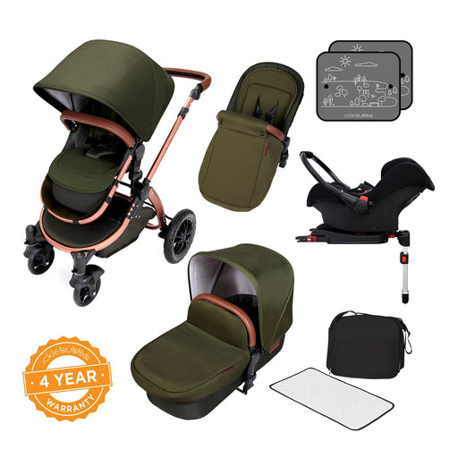 Ickle Bubba Stomp V4 Special Edition Travel System with ISOFIX Base - Woodland/Bronze - Pushchair Expert