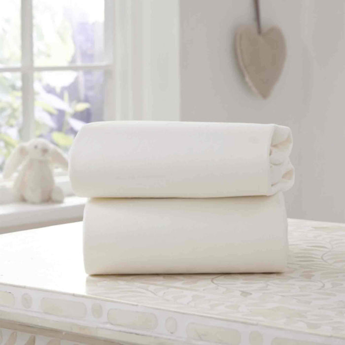Clair de Lune 2 pack fitted sheets to fit Moses Basket (30x74cm) - Pushchair Expert