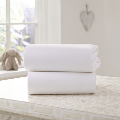 Clair De Lune 2 Pack Fitted Cotton Jersey Pram/Crib Sheet - White - Pushchair Expert