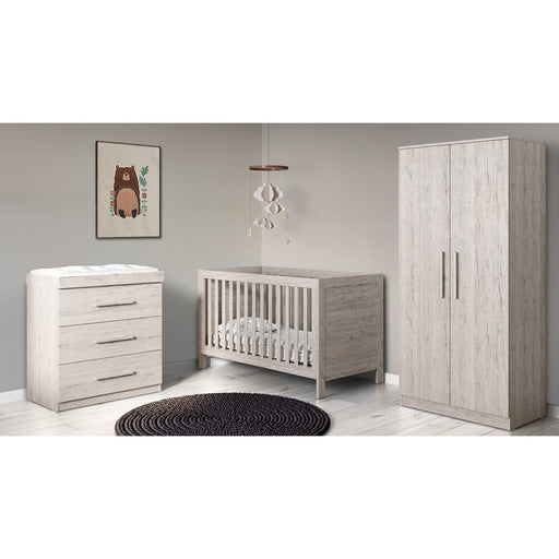 Ickle Bubba Grantham 4-piece bundle including mattress - Grey Oak
