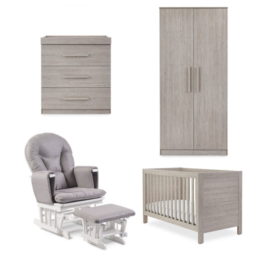 Ickle Bubba Grantham 5-piece full room set including mattress - Grey Oak