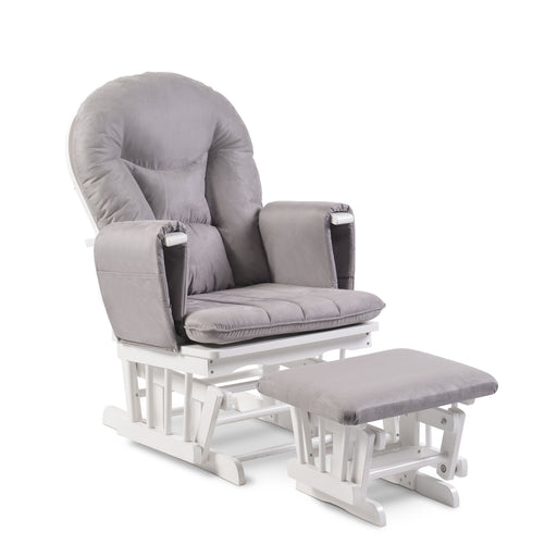 Ickle Bubba Alford Glider Chair and Stool - Grey/White