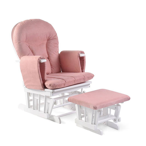 Ickle Bubba Alford Glider Chair and Stool - Blush Pink/White