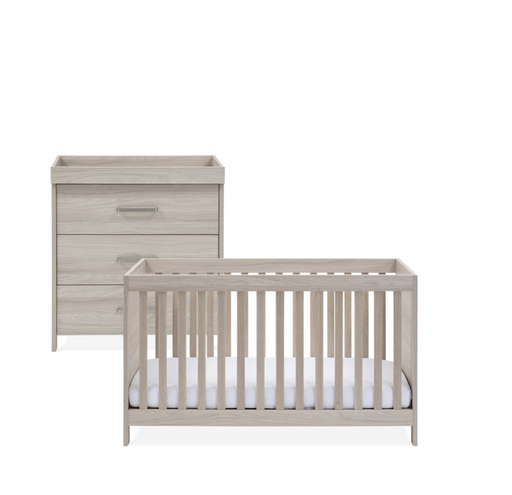 Silver Cross Ascot Furniture - 2-piece set (Cot Bed and Dresser) with mattress