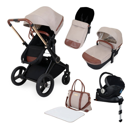 Ickle Bubba Aston Rose Luxury 10-Piece Travel System Bundle - Stone