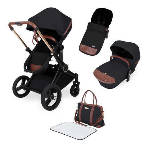 Ickle Bubba Aston Rose Luxury 8-Piece Pushchair Bundle - Black