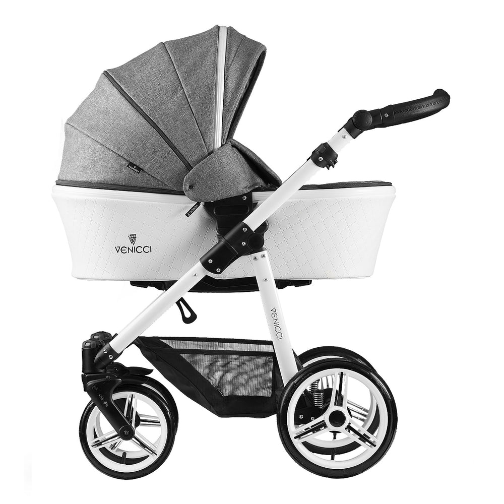 Venicci Pure 3-in-1 Travel System with ISOFIX Base Denim Grey - Pushchair Expert