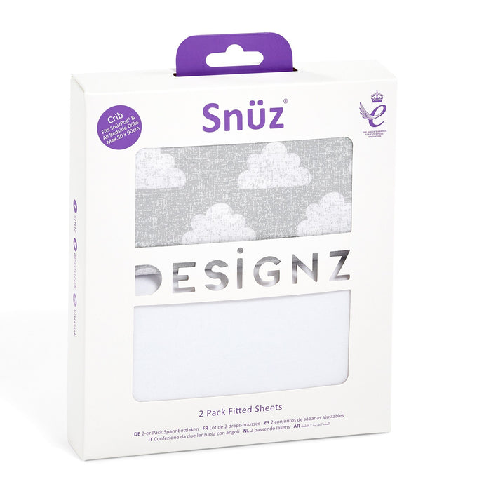 Snuz Crib 2 Pack Fitted Sheets - Cloud Nine - Pushchair Expert