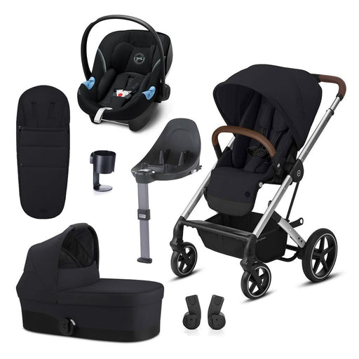 Cybex Balios S Lux travel system bundle - Deep Black (Silver frame)