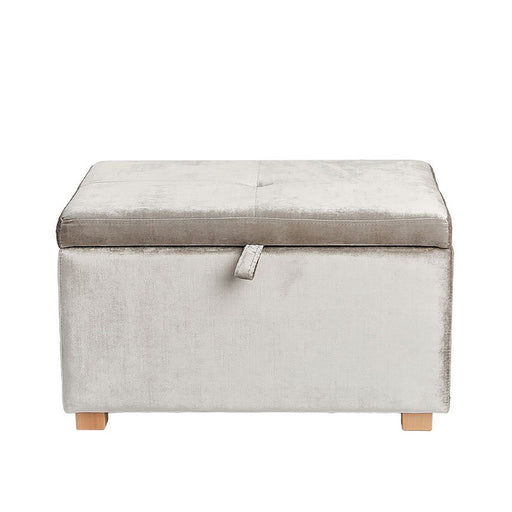 Gaia Serena Velvet Collection Footstool - Assimi Silver