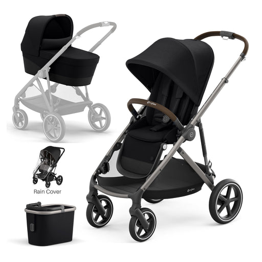 Cybex Gazelle S with carrycot - Deep Black (Taupe frame)