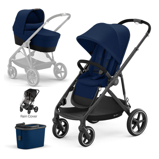 Cybex Gazelle S with carrycot - Navy Blue (Black frame)