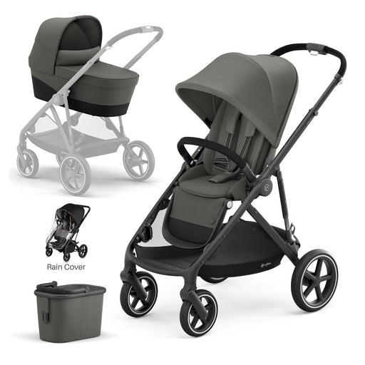 Cybex Gazelle S with carrycot - Soho Grey (Black frame)