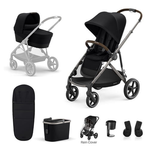 Cybex Gazelle S 7-piece bundle - Deep Black (Taupe frame)