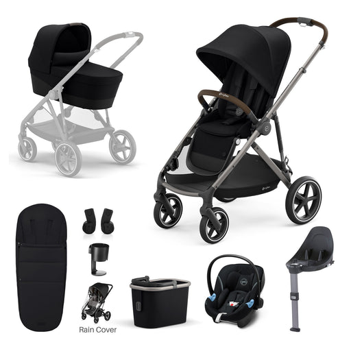 Cybex Gazelle S - 9-piece bundle - Deep Black (Taupe frame)