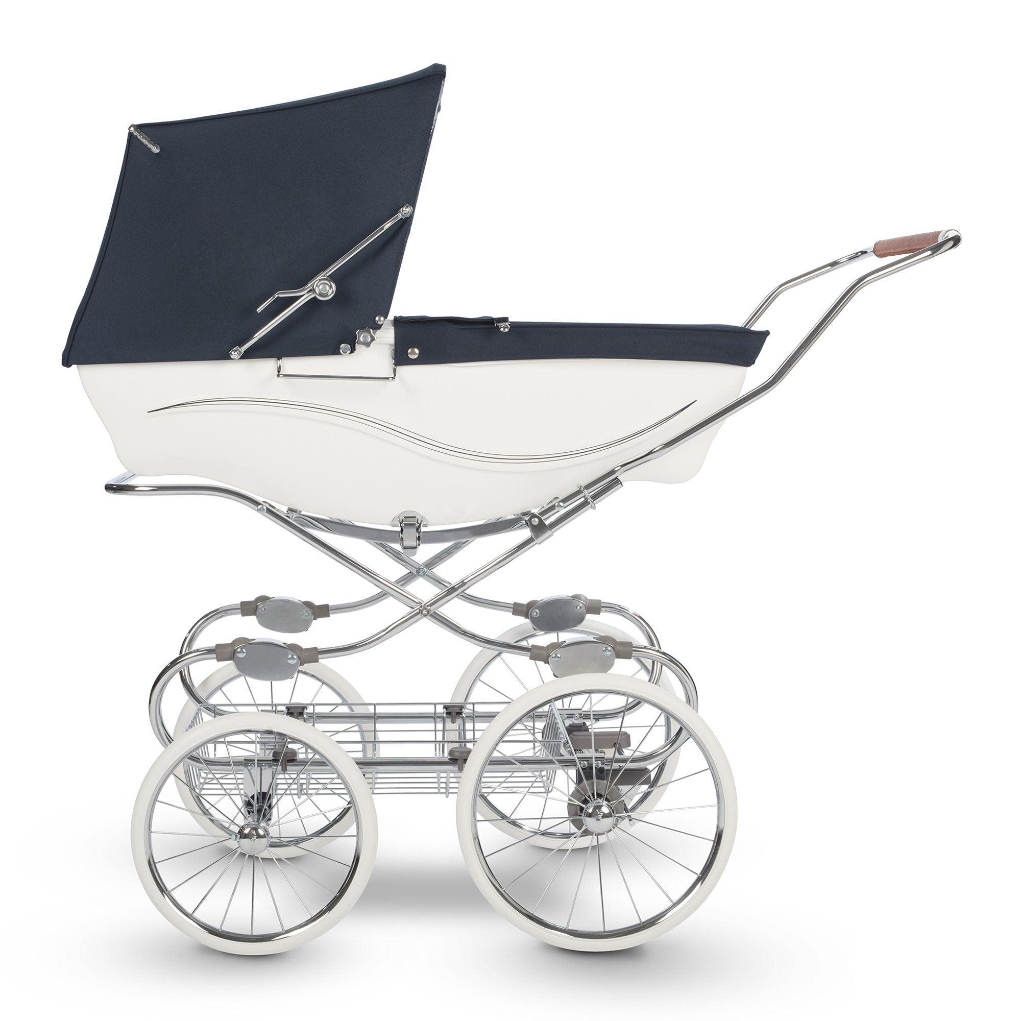 Silver Cross Kensington Pram - White/Navy - Pushchair Expert